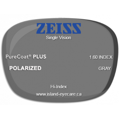 Zeiss Single Vision 1.60 PureCoat PLUS Zeiss Polarized - Gray