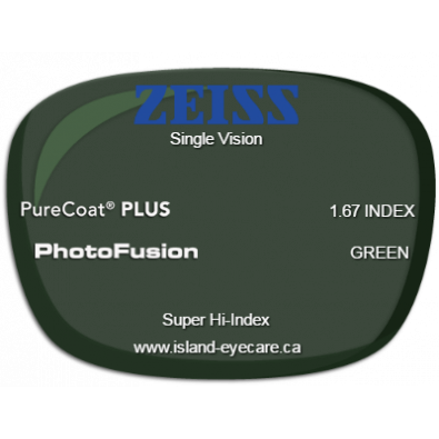 Zeiss Single Vision 1.67 PureCoat PLUS Photofusion - Green