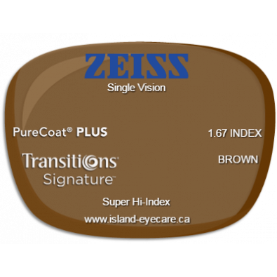 Zeiss Single Vision 1.67 PureCoat PLUS Transitions Signature - Brown
