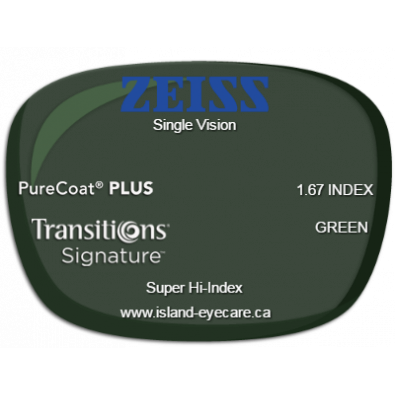Zeiss Single Vision 1.67 PureCoat PLUS Transitions Signature - Green