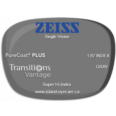 Zeiss Single Vision 1.67 PureCoat PLUS Transitions Vantage - Gray