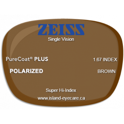 Zeiss Single Vision 1.67 PureCoat PLUS Zeiss Polarized - Brown