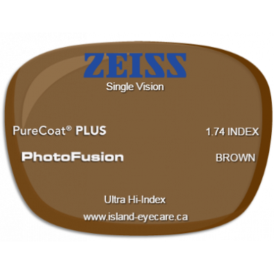 Zeiss Single Vision 1.74 PureCoat PLUS Photofusion - Brown