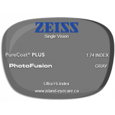 Zeiss Single Vision 1.74 PureCoat PLUS Photofusion - Gray