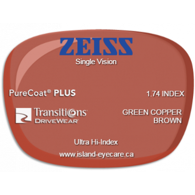 Zeiss Single Vision 1.74 PureCoat PLUS Transitions Drivewear  - Green Copper Brown