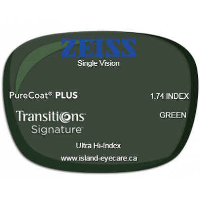 Zeiss Single Vision 1.74 PureCoat PLUS Transitions Signature - Green