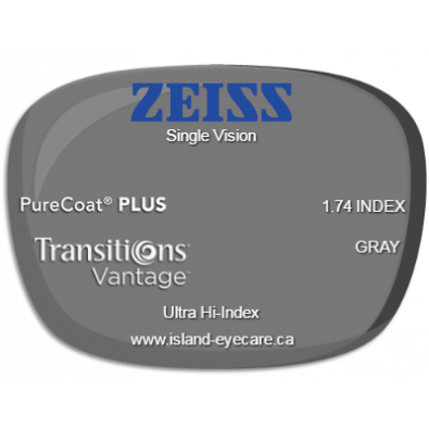 Zeiss Single Vision 1.74 PureCoat PLUS Transitions Vantage - Gray
