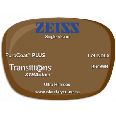 Zeiss Single Vision 1.74 PureCoat PLUS Transitions XTRActive - Brown
