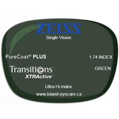Zeiss Single Vision 1.74 PureCoat PLUS Transitions XTRActive - Green