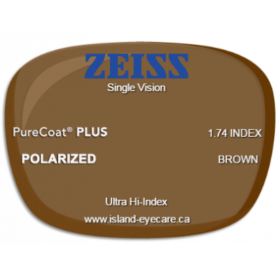 Zeiss Single Vision 1.74 PureCoat PLUS Zeiss Polarized - Brown