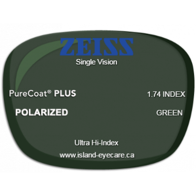 Zeiss Single Vision 1.74 PureCoat PLUS Zeiss Polarized - Green