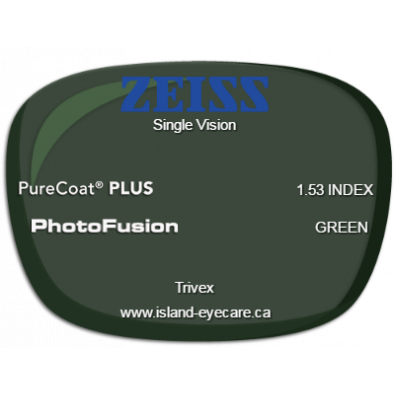 Zeiss Single Vision Trivex PureCoat PLUS Photofusion - Green