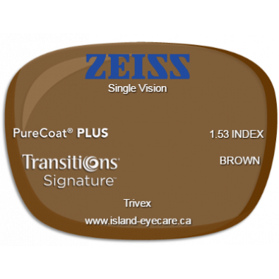 Zeiss Single Vision Trivex PureCoat PLUS Transitions Signature - Brown