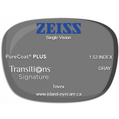 Zeiss Single Vision Trivex PureCoat PLUS Transitions Signature - Gray