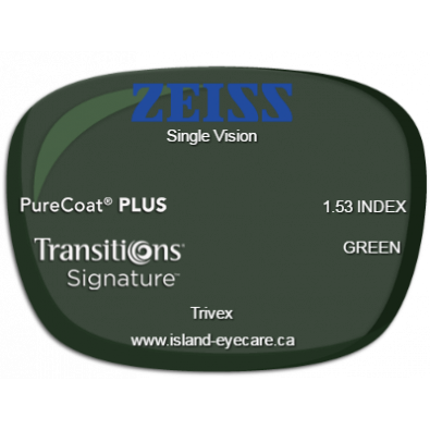 Zeiss Single Vision Trivex PureCoat PLUS Transitions Signature - Green