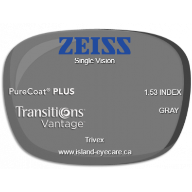 Zeiss Single Vision Trivex PureCoat PLUS Transitions Vantage - Gray